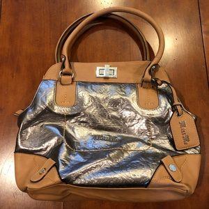 Miss Me Silver Tan Embossed Satchel Bag